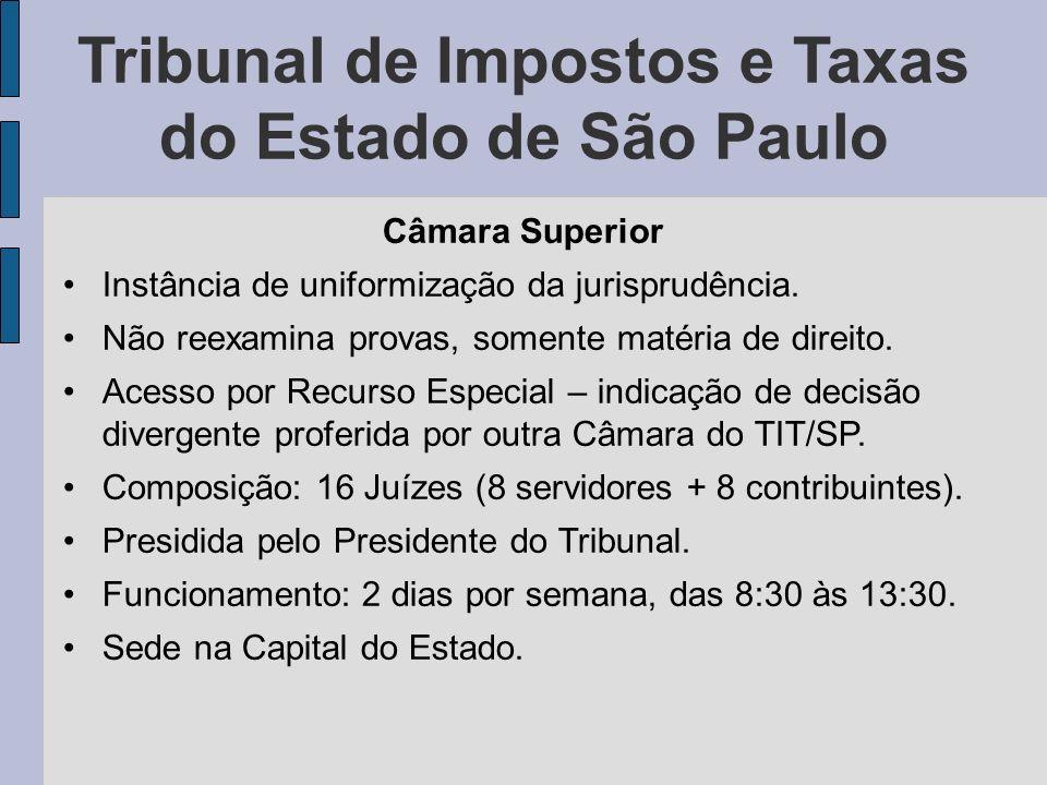 Tribunal de Impostos e Taxas do Estado de São Paulo Câmara Superior Instância de uniformização da jurisprudência. Não reexamina provas, somente matéri