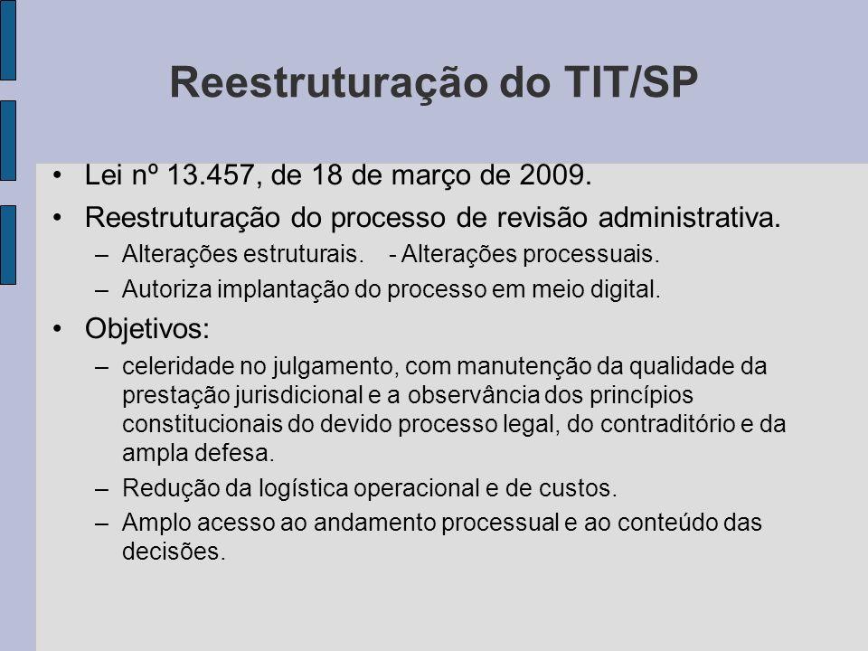 Reestruturação do TIT/SP Lei nº 13.457, de 18 de março de 2009. Reestruturação do processo de revisão administrativa. –Alterações estruturais. - Alter