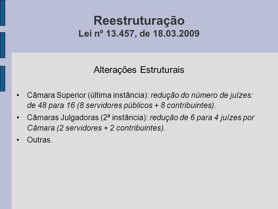 Reestruturação Lei nº 13.457, de 18.03.2009 Alterações Estruturais Câmara Superior (última instância): redução do número de juízes: de 48 para 16 (8 s