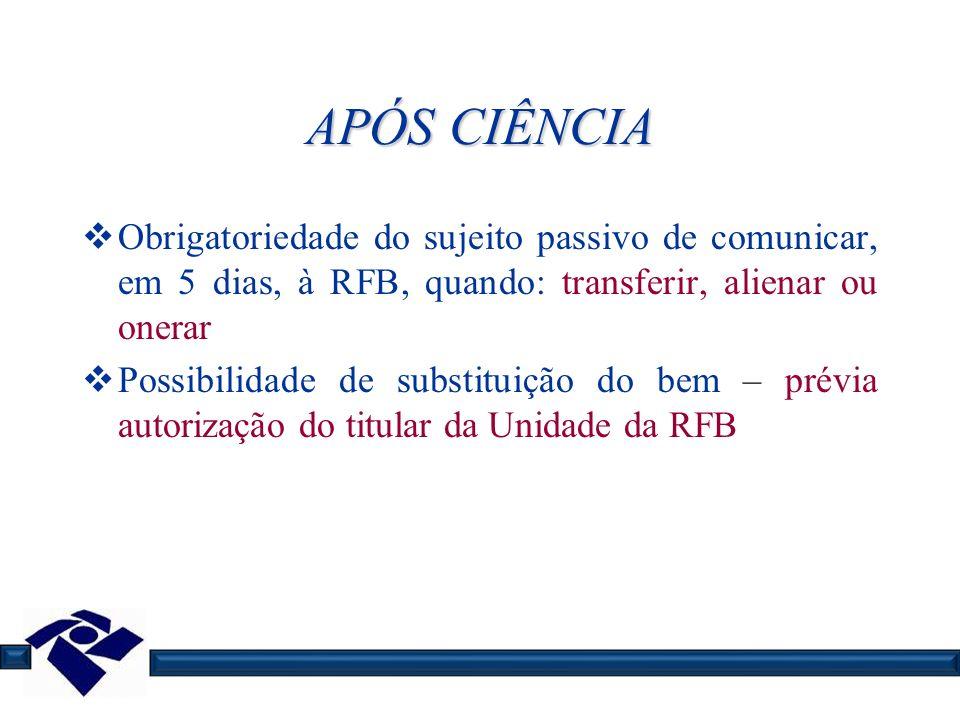 APÓS CIÊNCIA Obrigatoriedade do sujeito passivo de comunicar, em 5 dias, à RFB, quando: transferir, alienar ou onerar Possibilidade de substituição do