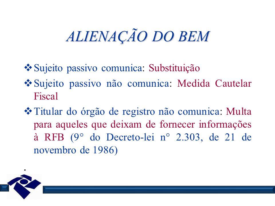 ALIENAÇÃO DO BEM Sujeito passivo comunica: Substituição Sujeito passivo não comunica: Medida Cautelar Fiscal Titular do órgão de registro não comunica