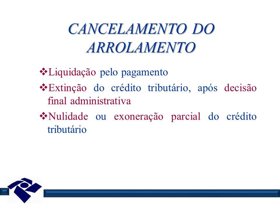 CANCELAMENTO DO ARROLAMENTO Liquidação pelo pagamento Extinção do crédito tributário, após decisão final administrativa Nulidade ou exoneração parcial