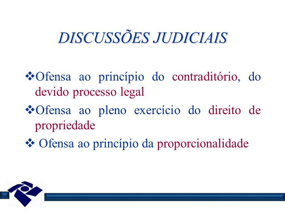 DISCUSSÕES JUDICIAIS Ofensa ao princípio do contraditório, do devido processo legal Ofensa ao pleno exercício do direito de propriedade Ofensa ao prin