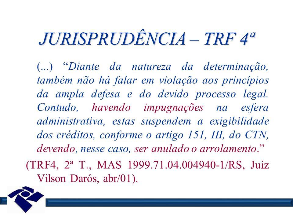 JURISPRUDÊNCIA – TRF 4ª (...) Diante da natureza da determinação, também não há falar em violação aos princípios da ampla defesa e do devido processo
