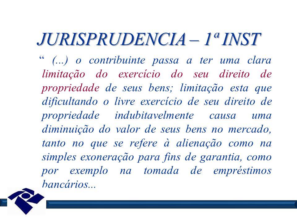 JURISPRUDENCIA – 1ª INST (...) o contribuinte passa a ter uma clara limitação do exercício do seu direito de propriedade de seus bens; limitação esta