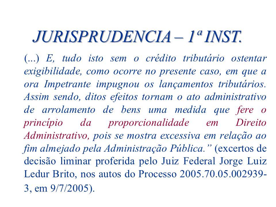 JURISPRUDENCIA – 1ª INST. (...) E, tudo isto sem o crédito tributário ostentar exigibilidade, como ocorre no presente caso, em que a ora Impetrante im