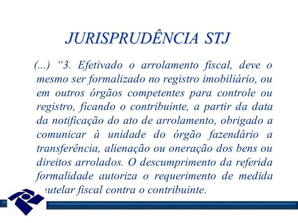JURISPRUDÊNCIA STJ (...) 3. Efetivado o arrolamento fiscal, deve o mesmo ser formalizado no registro imobiliário, ou em outros órgãos competentes para