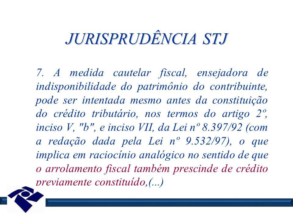 JURISPRUDÊNCIA STJ 7. A medida cautelar fiscal, ensejadora de indisponibilidade do patrimônio do contribuinte, pode ser intentada mesmo antes da const