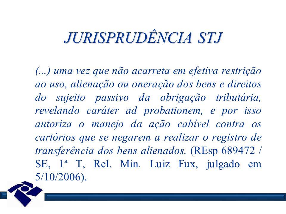 JURISPRUDÊNCIA STJ (...) uma vez que não acarreta em efetiva restrição ao uso, alienação ou oneração dos bens e direitos do sujeito passivo da obrigaç