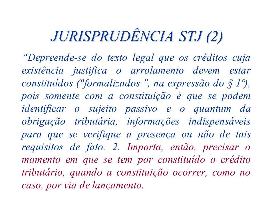 JURISPRUDÊNCIA STJ (2) Depreende-se do texto legal que os créditos cuja existência justifica o arrolamento devem estar constituídos (
