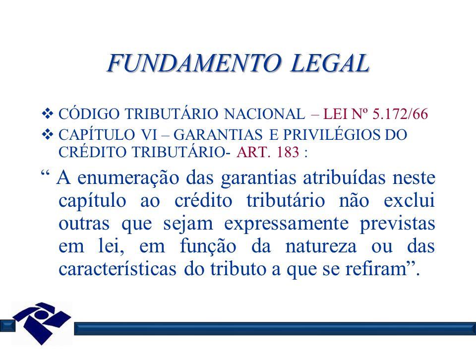 FUNDAMENTO LEGAL CÓDIGO TRIBUTÁRIO NACIONAL – LEI Nº 5.172/66 CAPÍTULO VI – GARANTIAS E PRIVILÉGIOS DO CRÉDITO TRIBUTÁRIO- ART. 183 : A enumeração das