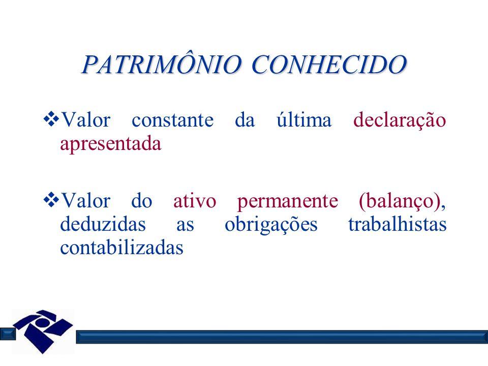 PATRIMÔNIO CONHECIDO Valor constante da última declaração apresentada Valor do ativo permanente (balanço), deduzidas as obrigações trabalhistas contab