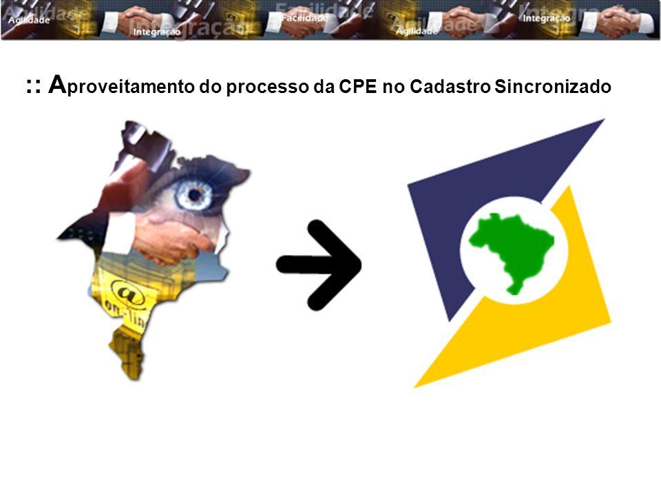 :: A proveitamento do processo da CPE no Cadastro Sincronizado
