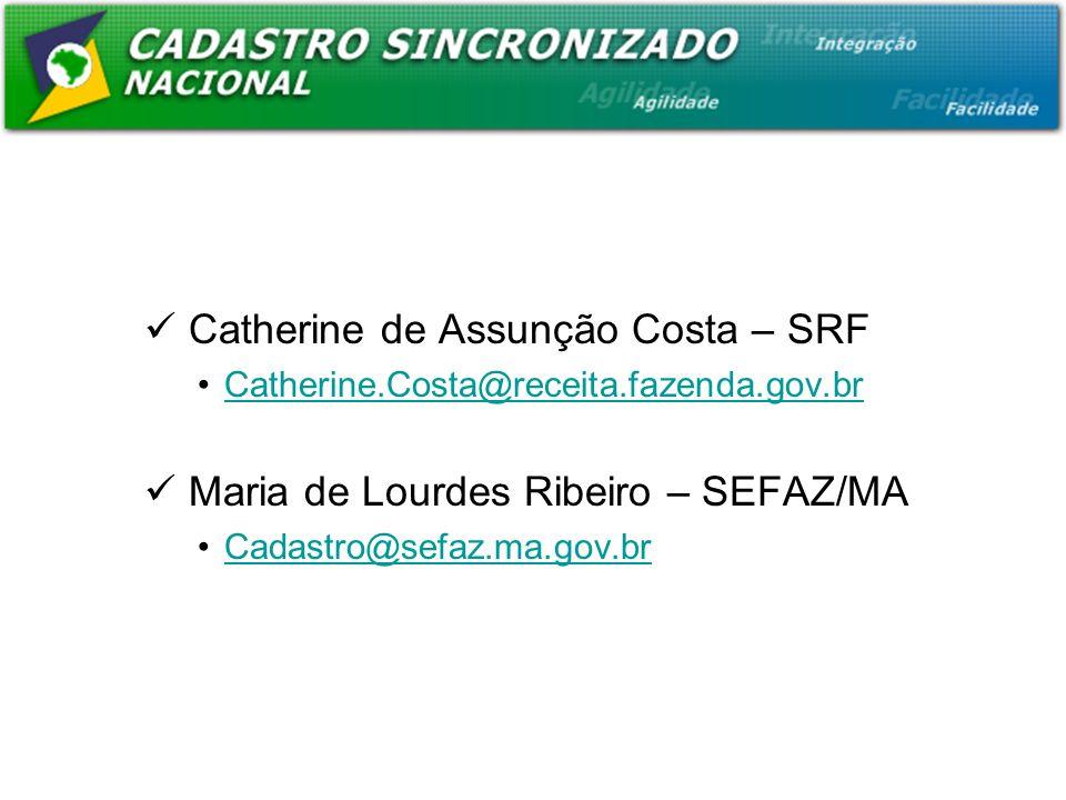 Catherine de Assunção Costa – SRF Catherine.Costa@receita.fazenda.gov.br Maria de Lourdes Ribeiro – SEFAZ/MA Cadastro@sefaz.ma.gov.br