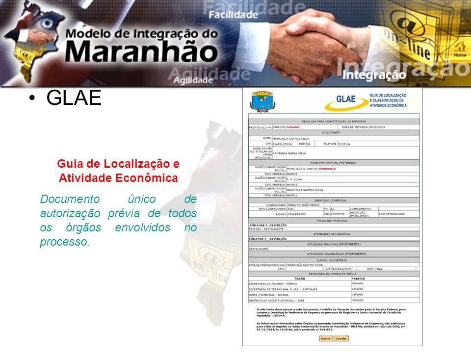 GLAE Guia de Localização e Atividade Econômica Documento único de autorização prévia de todos os órgãos envolvidos no processo.