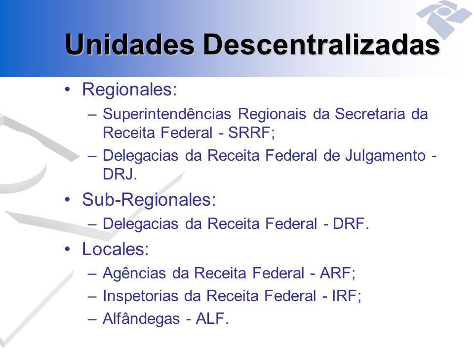 Unidades Descentralizadas Regionales: –Superintendências Regionais da Secretaria da Receita Federal - SRRF; –Delegacias da Receita Federal de Julgamen