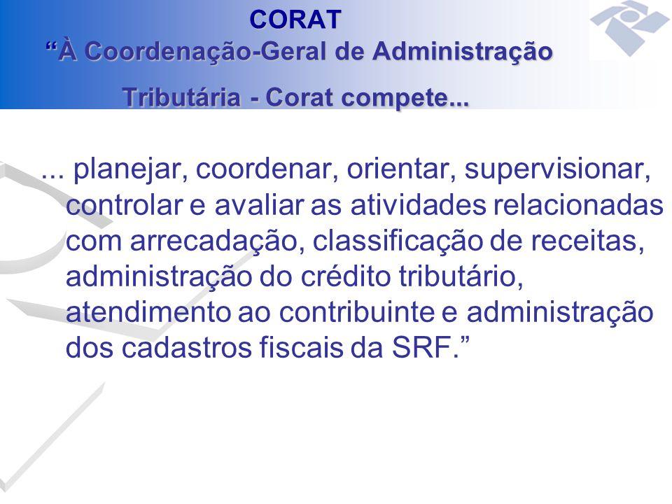 CORAT À Coordenação-Geral de Administração Tributária - Corat compete...... planejar, coordenar, orientar, supervisionar, controlar e avaliar as ativi