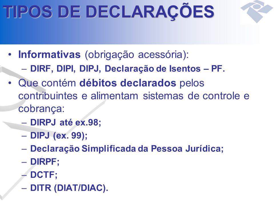 TIPOS DE DECLARAÇÕES Informativas (obrigação acessória): –DIRF, DIPI, DIPJ, Declaração de Isentos – PF. Que contém débitos declarados pelos contribuin