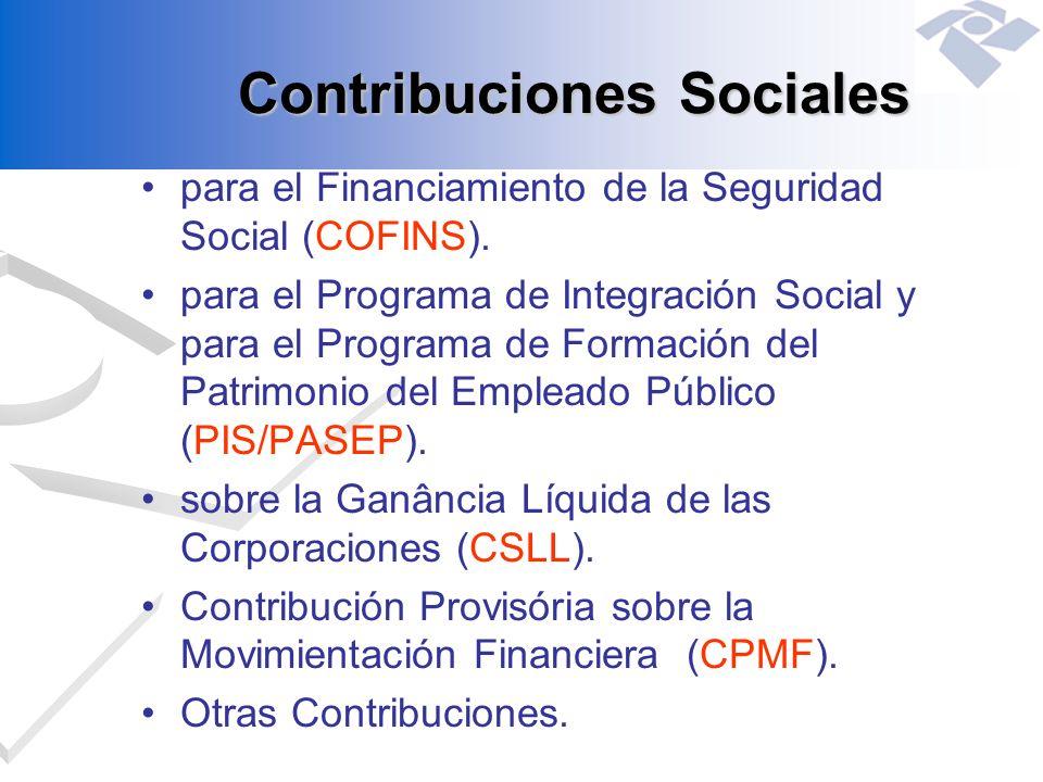 Contribuciones Sociales para el Financiamiento de la Seguridad Social (COFINS). para el Programa de Integración Social y para el Programa de Formación
