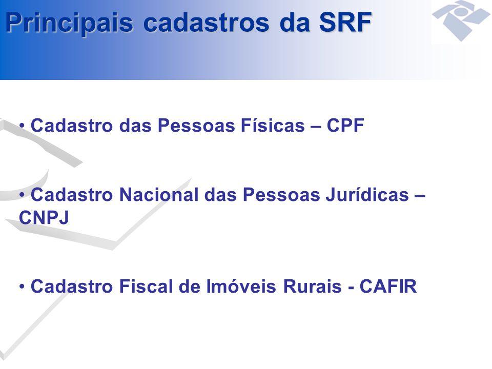 Cadastro das Pessoas Físicas – CPF Cadastro Nacional das Pessoas Jurídicas – CNPJ Cadastro Fiscal de Imóveis Rurais - CAFIR Principais cadastros da SR