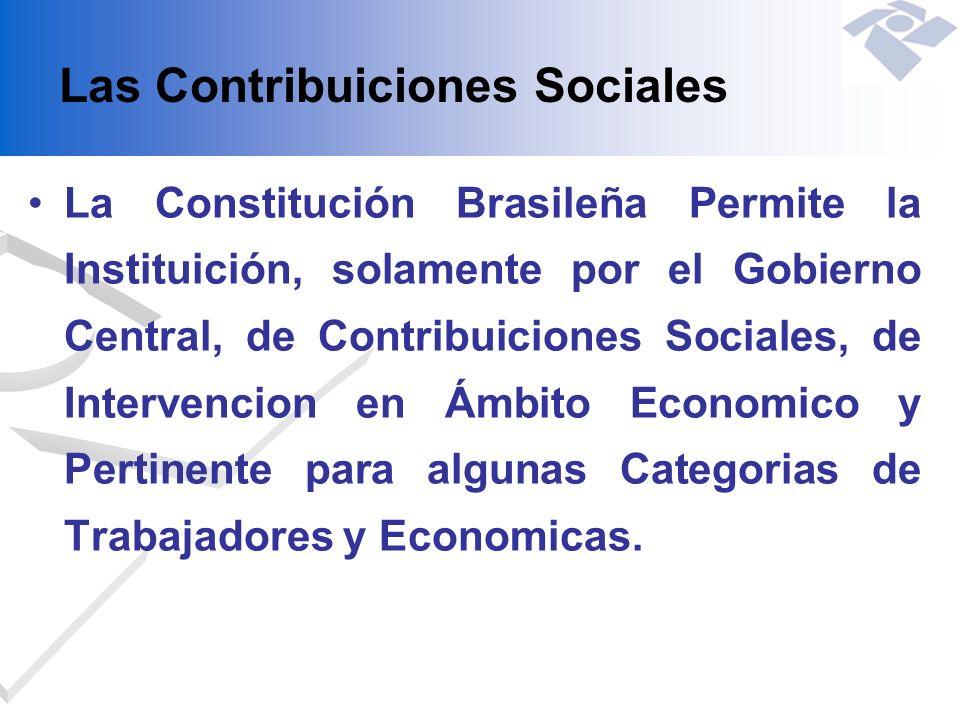 Las Contribuiciones Sociales La Constitución Brasileña Permite la Instituición, solamente por el Gobierno Central, de Contribuiciones Sociales, de Int