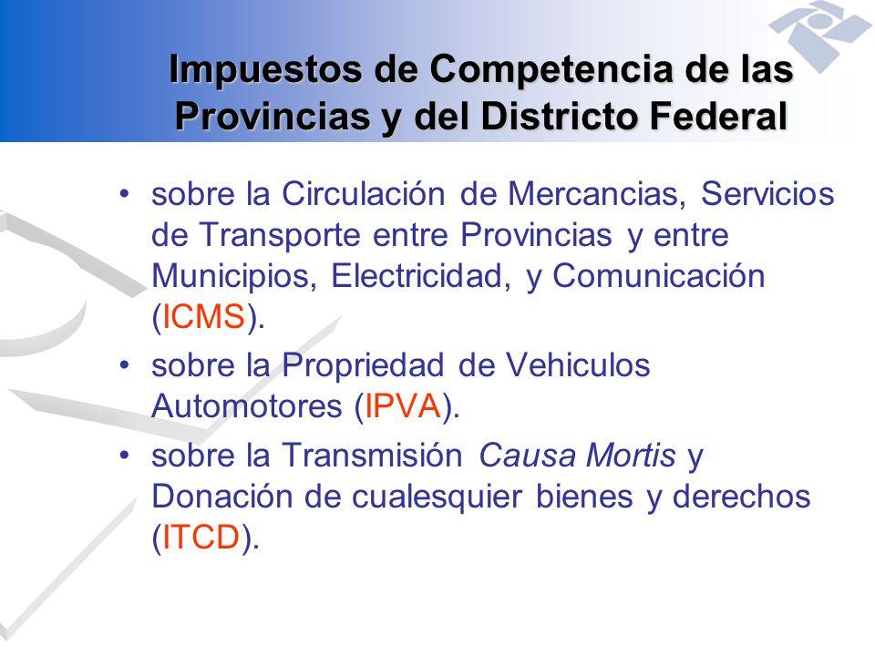 Impuestos de Competencia de las Provincias y del Districto Federal sobre la Circulación de Mercancias, Servicios de Transporte entre Provincias y entr