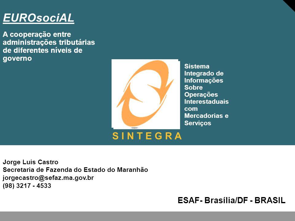 Jorge Luis Castro Secretaria de Fazenda do Estado do Maranhão jorgecastro@sefaz.ma.gov.br (98) 3217 - 4533 EUROsociAL ESAF- Brasília/DF - BRASIL A coo