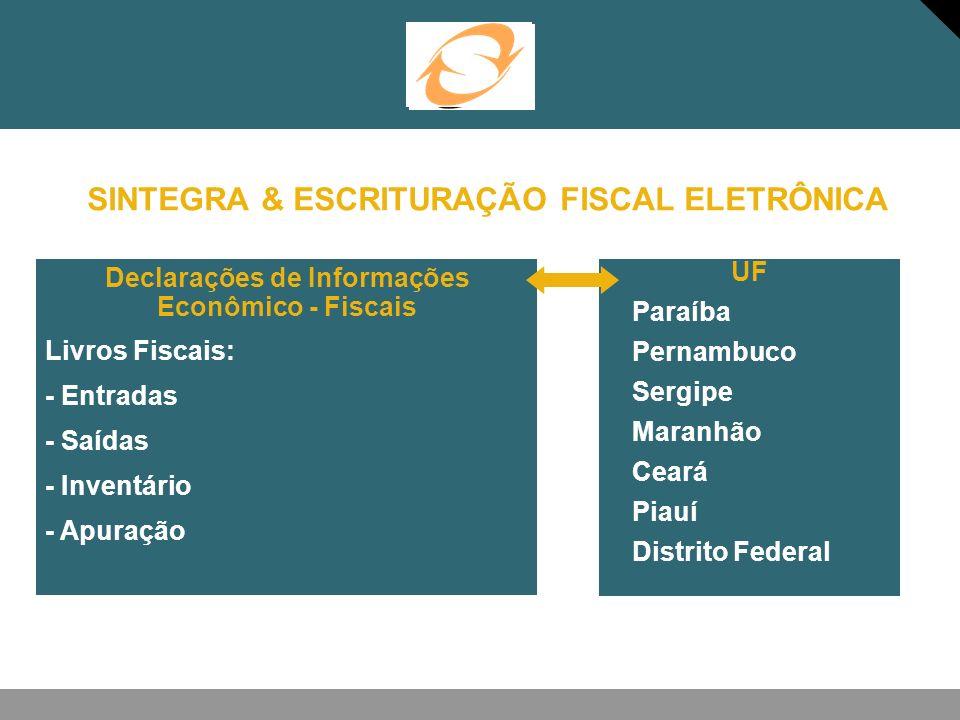 SINTEGRA & ESCRITURAÇÃO FISCAL ELETRÔNICA UF -Paraíba -Pernambuco -Sergipe -Maranhão -Ceará -Piauí -Distrito Federal Declarações de Informações Econôm