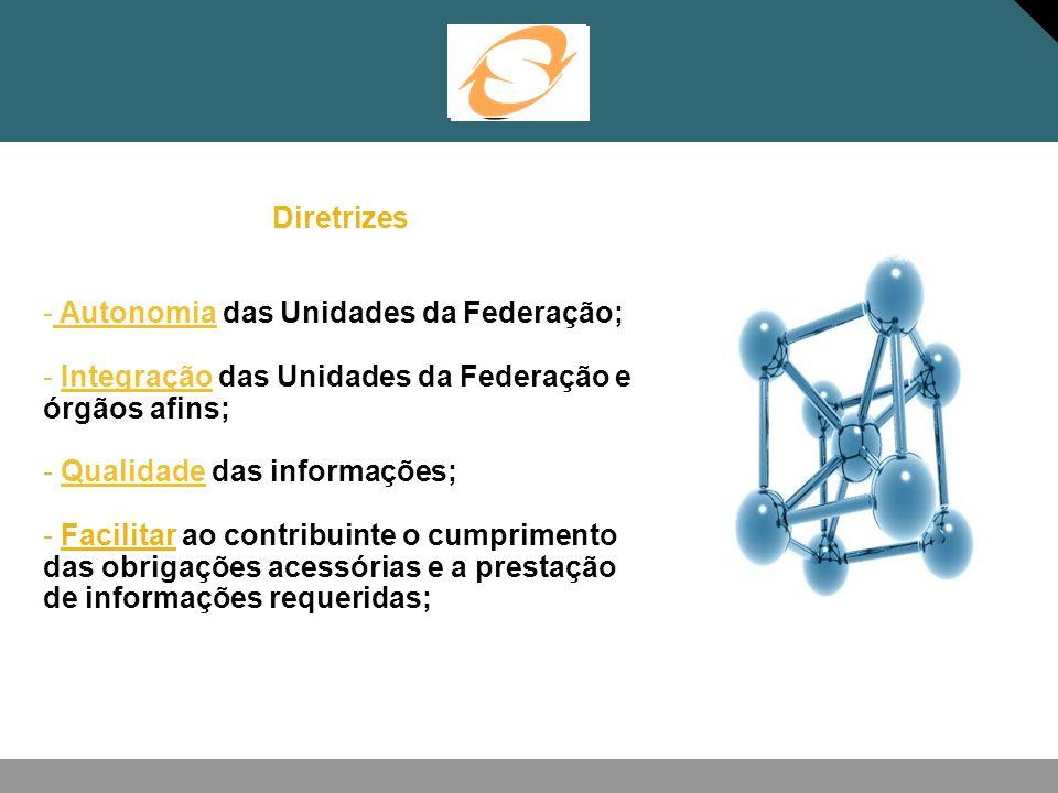 Diretrizes - Autonomia das Unidades da Federação; - Integração das Unidades da Federação e órgãos afins; - Qualidade das informações; - Facilitar ao c