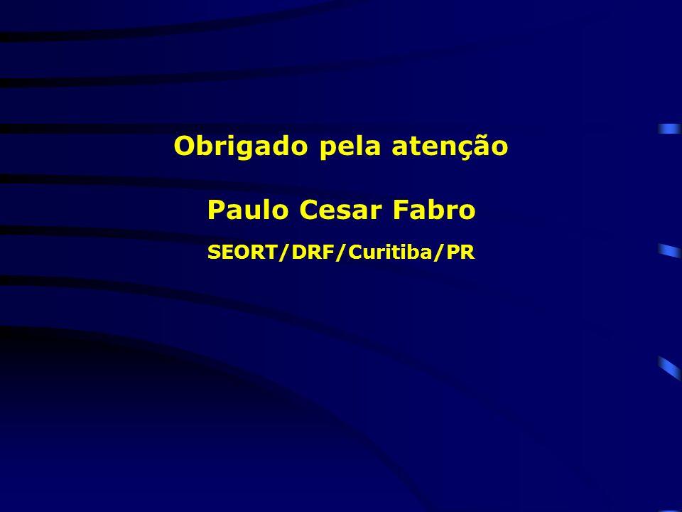 Obrigado pela atenção Paulo Cesar Fabro SEORT/DRF/Curitiba/PR