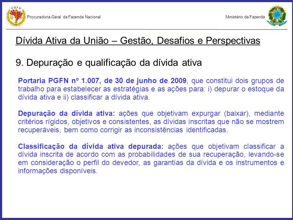 Ministério da FazendaProcuradoria-Geral da Fazenda Nacional Dívida Ativa da União – Gestão, Desafios e Perspectivas 9. Depuração e qualificação da dív