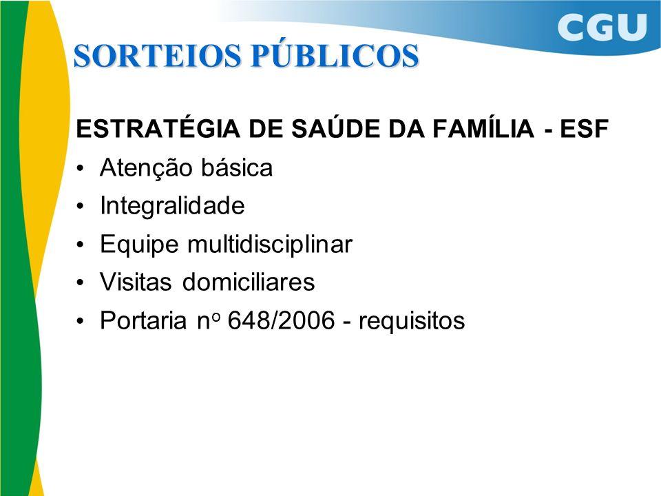 ESTRATÉGIA DE SAÚDE DA FAMÍLIA - ESF Atenção básica Integralidade Equipe multidisciplinar Visitas domiciliares Portaria n o 648/2006 - requisitos SORT