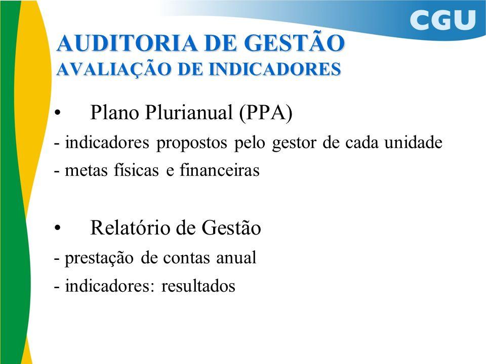 AUDITORIA DE GESTÃO AVALIAÇÃO DE INDICADORES Plano Plurianual (PPA) - indicadores propostos pelo gestor de cada unidade - metas físicas e financeiras