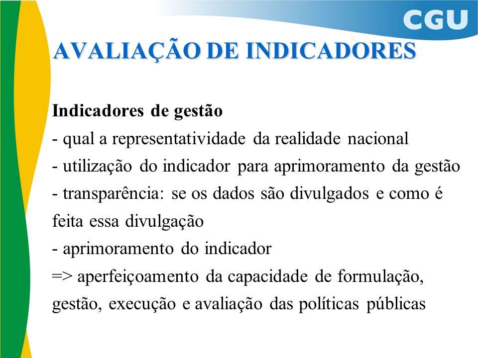 Indicadores de gestão - qual a representatividade da realidade nacional - utilização do indicador para aprimoramento da gestão - transparência: se os