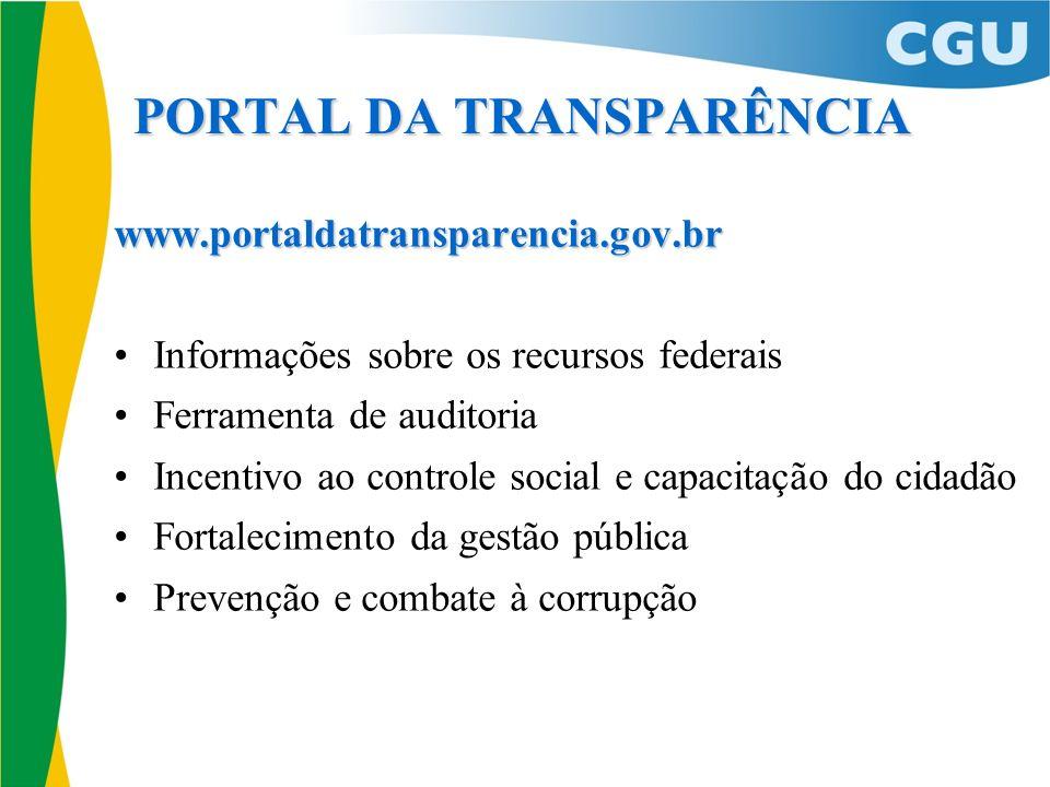 PORTAL DA TRANSPARÊNCIA www.portaldatransparencia.gov.br Informações sobre os recursos federais Ferramenta de auditoria Incentivo ao controle social e
