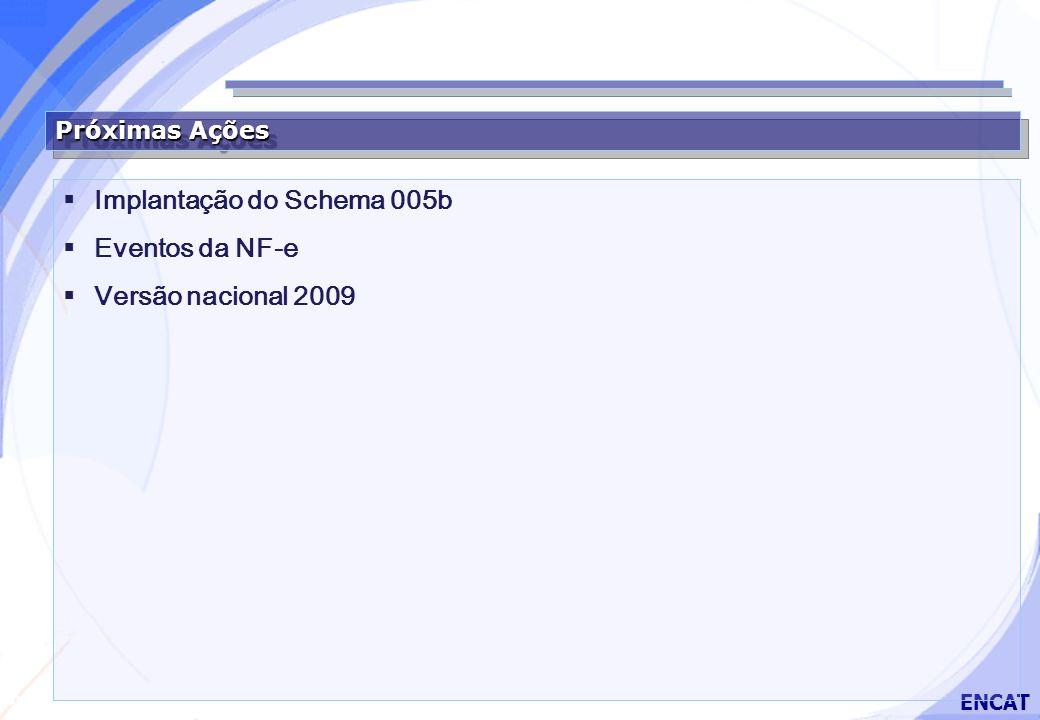 Secretaria da Fazenda ENCAT Próximas Ações Implantação do Schema 005b Eventos da NF-e Versão nacional 2009