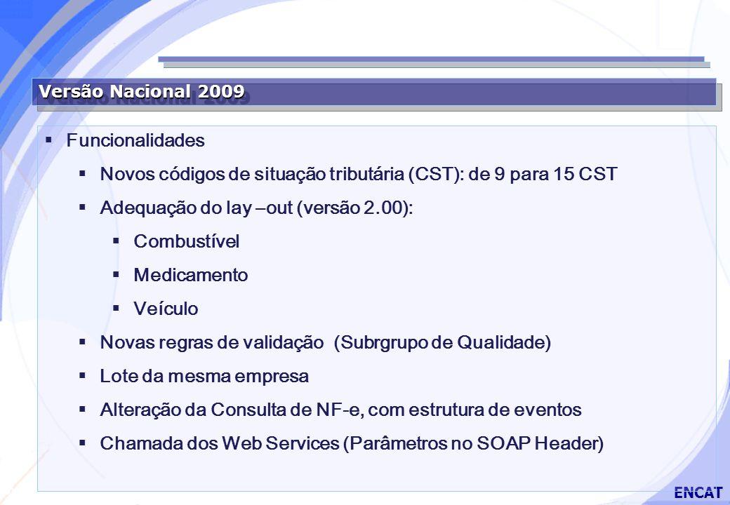 Secretaria da Fazenda ENCAT Versão Nacional 2009 Funcionalidades Novos códigos de situação tributária (CST): de 9 para 15 CST Adequação do lay –out (versão 2.00): Combustível Medicamento Veículo Novas regras de validação (Subrgrupo de Qualidade) Lote da mesma empresa Alteração da Consulta de NF-e, com estrutura de eventos Chamada dos Web Services (Parâmetros no SOAP Header)