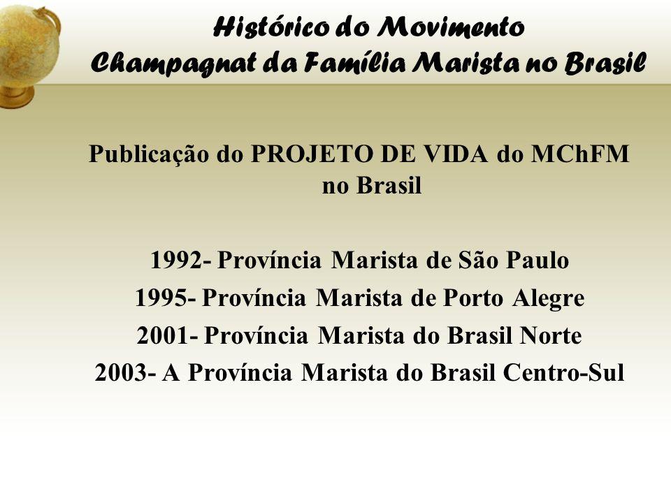 Histórico do Movimento Champagnat da Família Marista no Brasil Publicação do PROJETO DE VIDA do MChFM no Brasil 1992- Província Marista de São Paulo 1