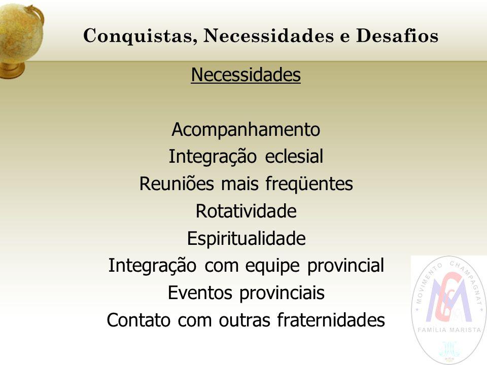 Conquistas, Necessidades e Desafios Necessidades Acompanhamento Integração eclesial Reuniões mais freqüentes Rotatividade Espiritualidade Integração c