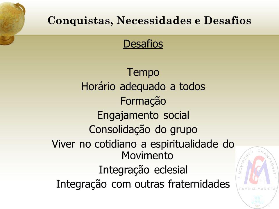 Conquistas, Necessidades e Desafios Desafios Tempo Horário adequado a todos Formação Engajamento social Consolidação do grupo Viver no cotidiano a esp
