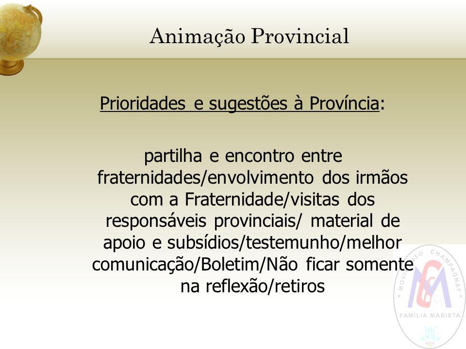 Animação Provincial Prioridades e sugestões à Província: partilha e encontro entre fraternidades/envolvimento dos irmãos com a Fraternidade/visitas do