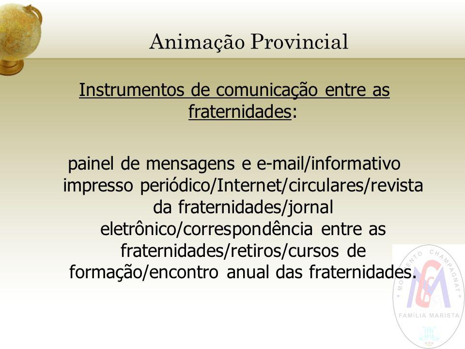 Animação Provincial Instrumentos de comunicação entre as fraternidades: painel de mensagens e e-mail/informativo impresso periódico/Internet/circulare