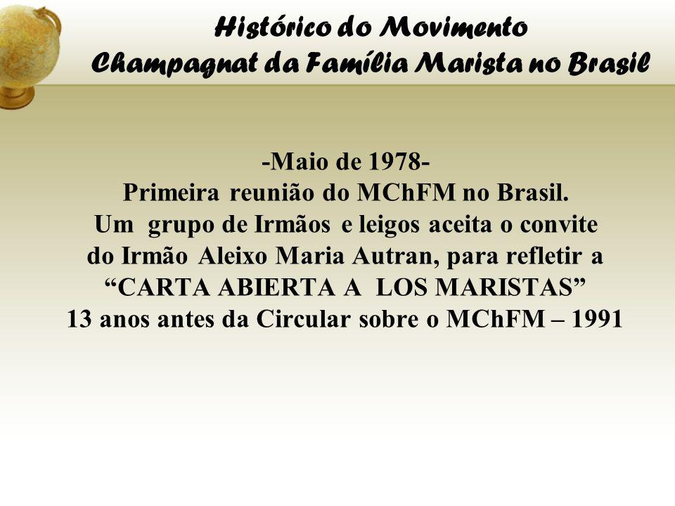 Histórico do Movimento Champagnat da Família Marista no Brasil -Maio de 1978- Primeira reunião do MChFM no Brasil. Um grupo de Irmãos e leigos aceita