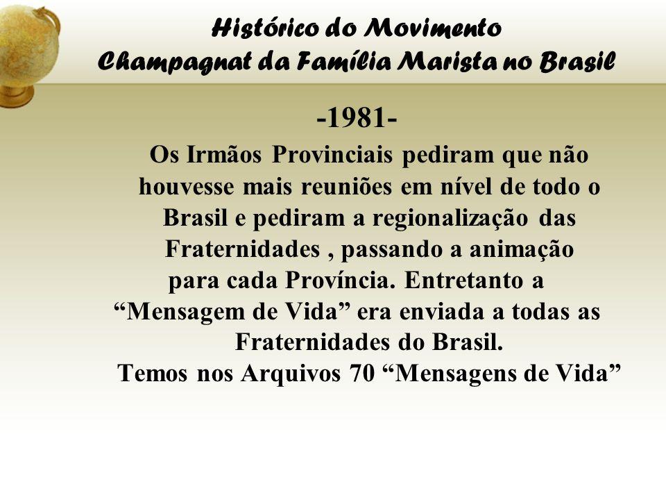 Histórico do Movimento Champagnat da Família Marista no Brasil -1981- Os Irmãos Provinciais pediram que não houvesse mais reuniões em nível de todo o