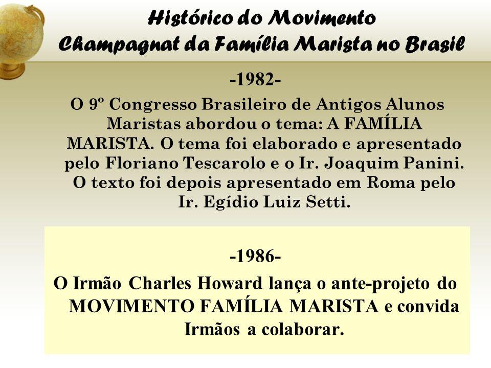Histórico do Movimento Champagnat da Família Marista no Brasil -1982- O 9º Congresso Brasileiro de Antigos Alunos Maristas abordou o tema: A FAMÍLIA M