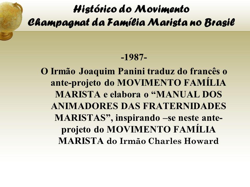 Histórico do Movimento Champagnat da Família Marista no Brasil -1987- O Irmão Joaquim Panini traduz do francês o ante-projeto do MOVIMENTO FAMÍLIA MAR