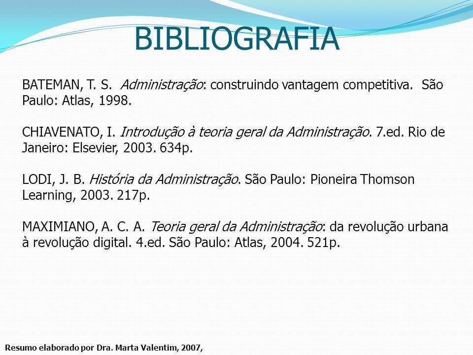 Resumo elaborado por Dra. Marta Valentim, 2007, BATEMAN, T. S. Administração: construindo vantagem competitiva. São Paulo: Atlas, 1998. CHIAVENATO, I.