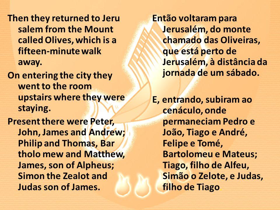 Então voltaram para Jerusalém, do monte chamado das Oliveiras, que está perto de Jerusalém, à distância da jornada de um sábado.