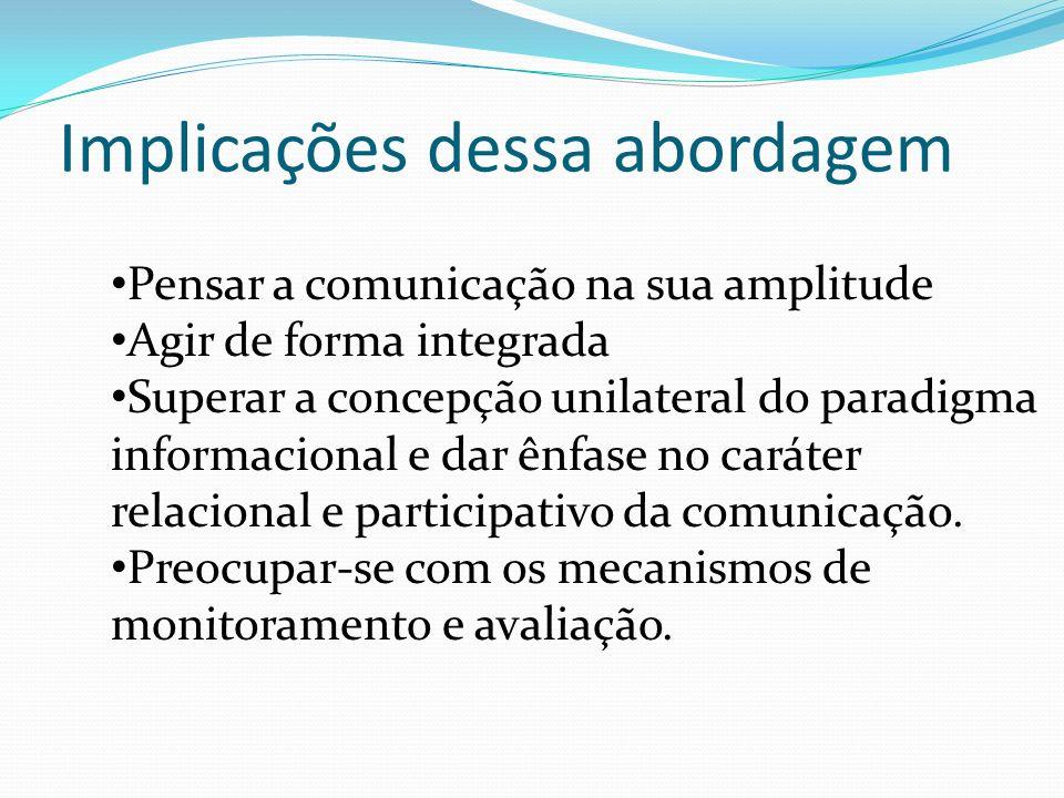 Pensar a comunicação na sua amplitude Agir de forma integrada Superar a concepção unilateral do paradigma informacional e dar ênfase no caráter relacional e participativo da comunicação.