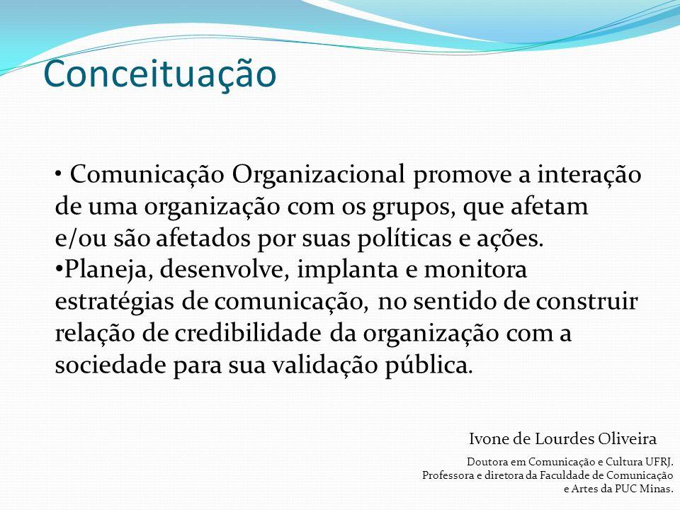 Comunicação Organizacional promove a interação de uma organização com os grupos, que afetam e/ou são afetados por suas políticas e ações.